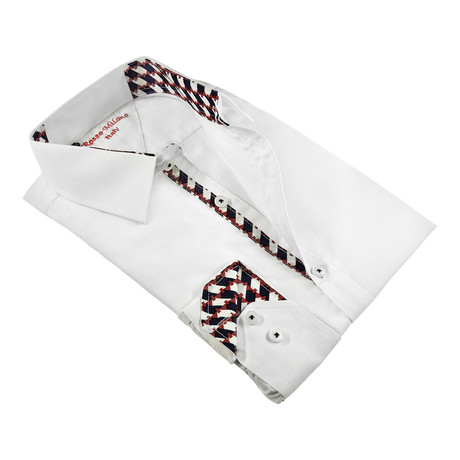 Check Trim Button-Up Shirt // White