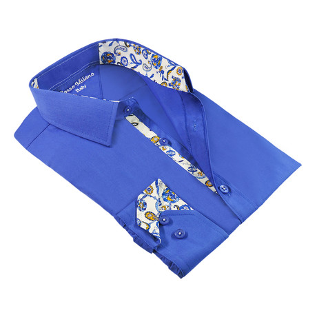 Solid Tim Button-Up Shirt W/ Paisley Print Trim // Royal