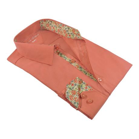 Spring Flora Print Trim Shirt Button-Up Shirt // Coral (L)