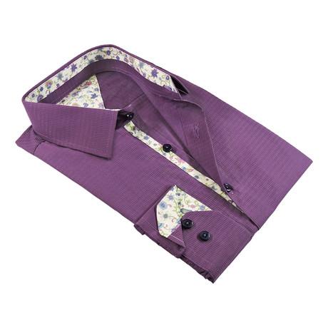 Tally Texture Button-Up Shirt // Purple