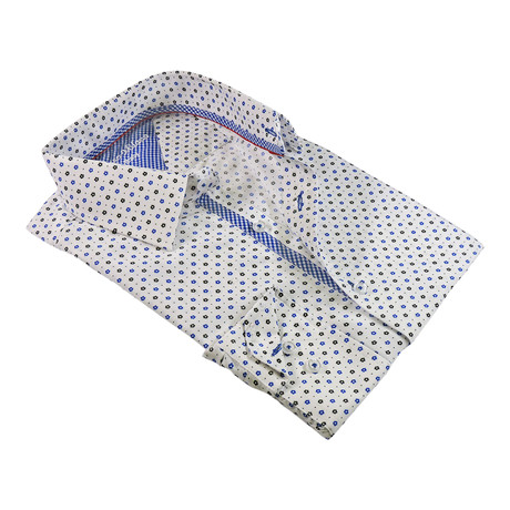 Flora Button-Up Shirt // White + Royal