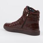 Sullivan Crocodile High-Top Sneaker // Burgundy (US: 7)