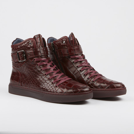 Sullivan Crocodile High-Top Sneaker // Burgundy (US: 7)