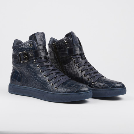Sullivan Crocodile High-Top Sneaker // Navy (US: 7)