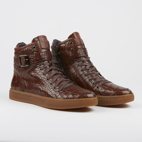 Sullivan Crocodile High-Top Sneaker // Brown (US: 7)