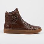Sullivan Crocodile High-Top Sneaker // Brown (US: 8.5)