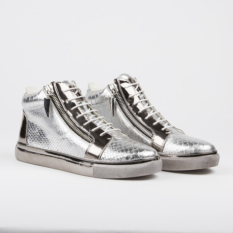 Zack Snake High-Top Sneaker // Silver (US: 7)