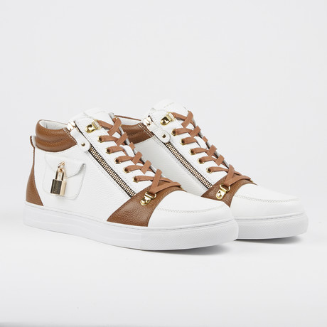 Zappa Mid-Top Sneaker // White + Tan (US: 7)