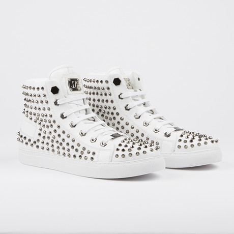 Zircon Studded High-Top Sneaker // White