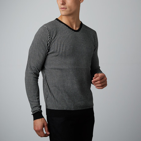 Grid Sweater // Black + Cream (M)