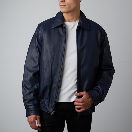 Mason + Cooper // Walden Leather Bomber // Navy (S)