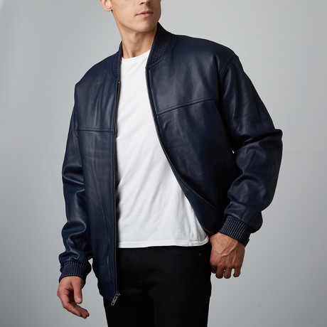 Mason + Cooper // Sawyer Leather Bomber // Navy (2XL)