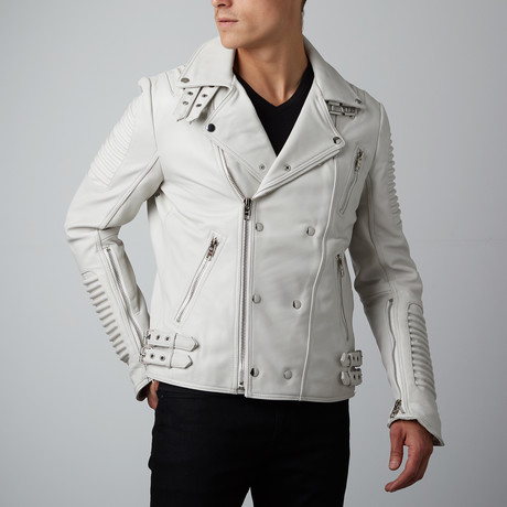 Mason + Cooper // Moto Leather Jacket // White (S)