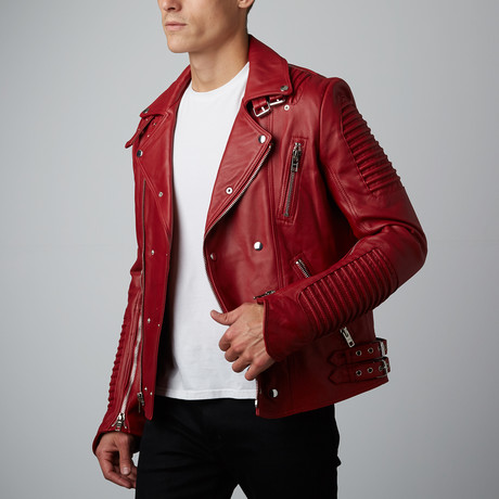 Mason + Cooper // Moto Leather Jacket // Cherry (S)