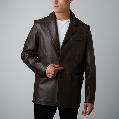 Mason + Cooper // Landon Leather Blazer // Brown (S)
