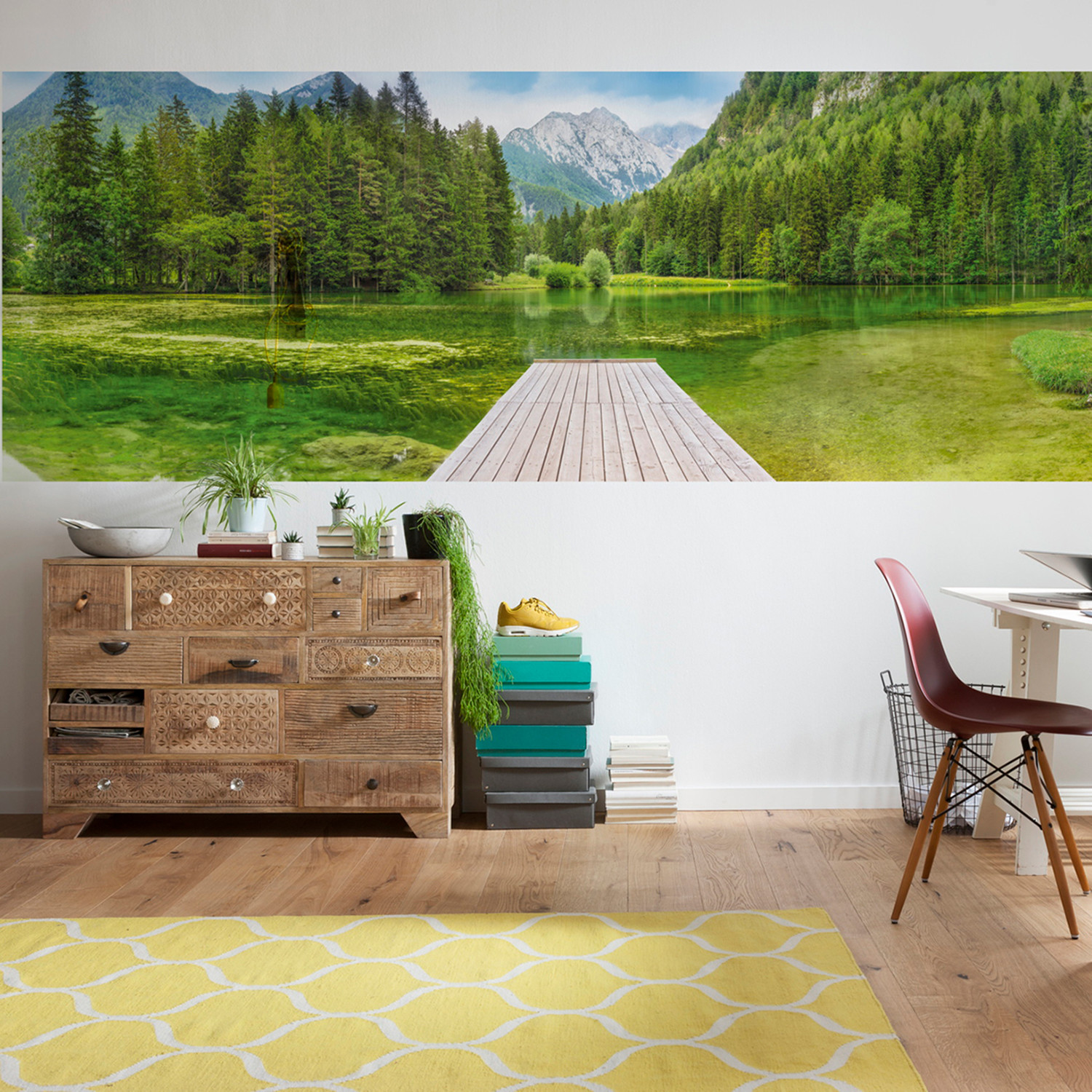 Green lake wall mural brewster home fashions touch of for Brewster birch wall mural