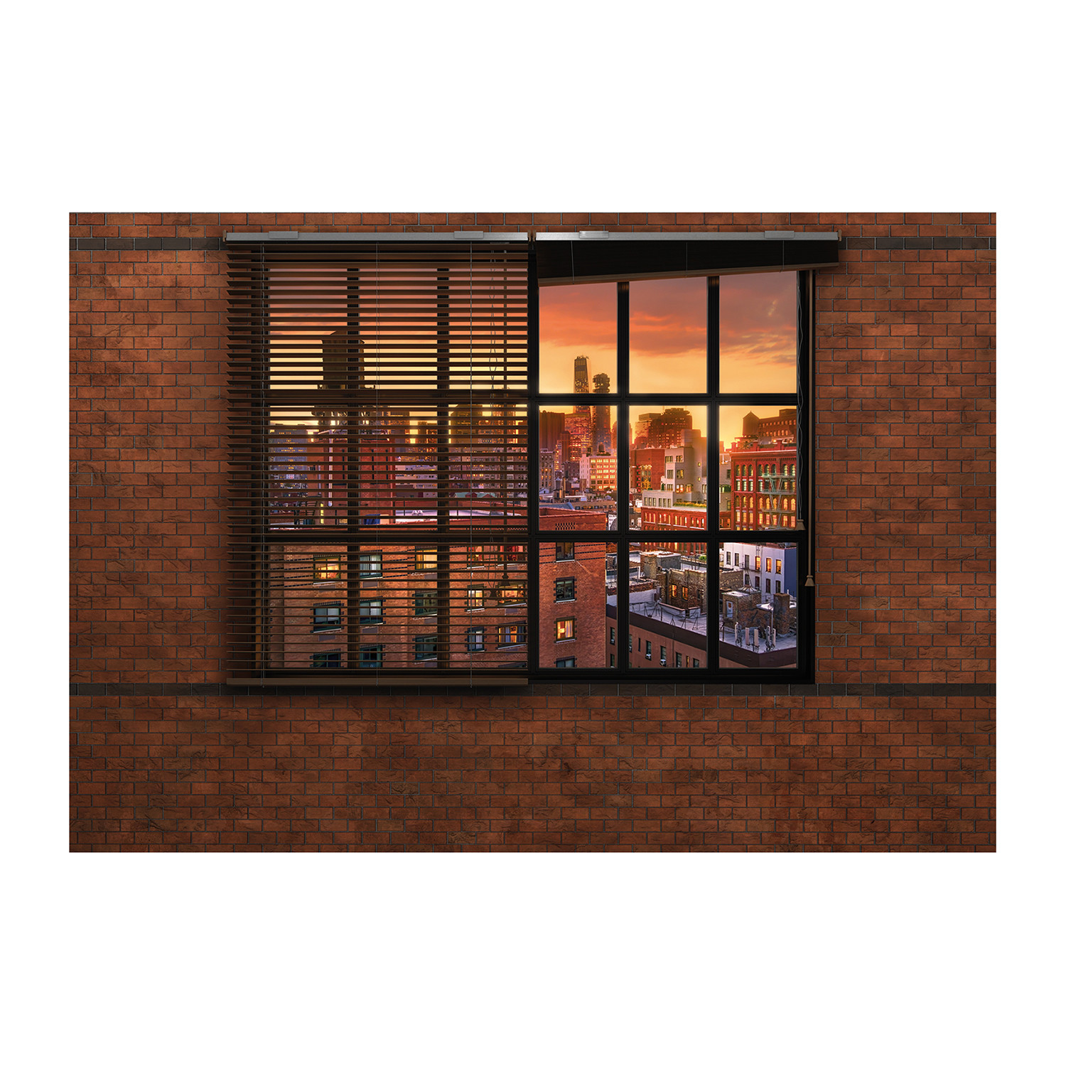 Brooklyn brick wall mural brewster home fashions touch for Brick wall mural