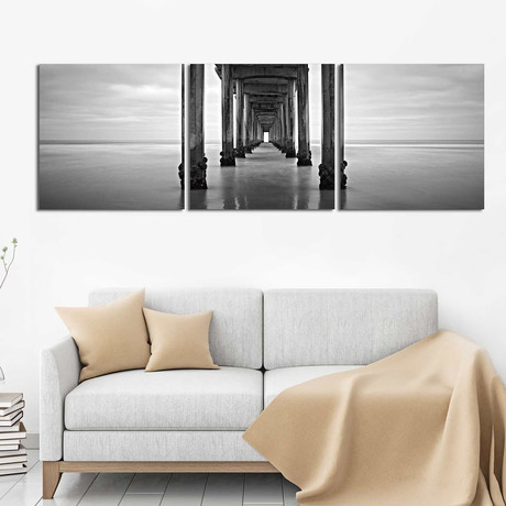 """Pier in Black and White (20""""H x 60""""W x 1""""D)"""