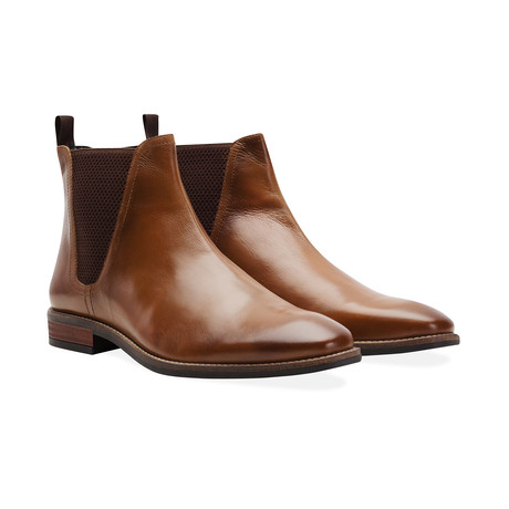 Leather Square Toe Chelsea Boot // Tan (UK: 6)