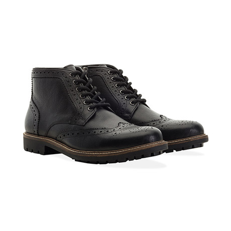 Zip + Lace Brogue Boot // Black (UK 7)