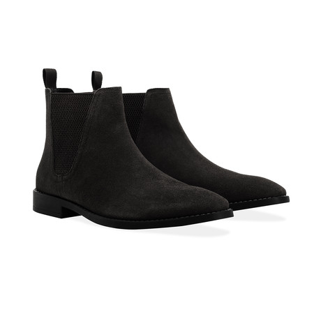 Suede Square Toe Chelsea Boot // Black (UK: 6)