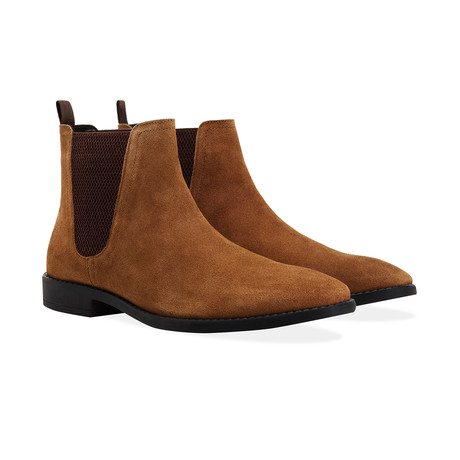 Suede Square Toe Chelsea Boot // Tan (UK: 6)