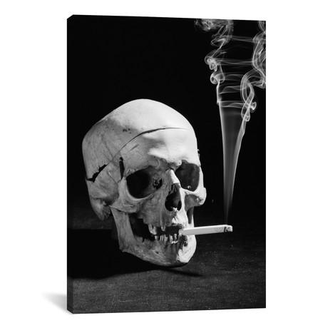 "1930s Human Skull Smoking A Cigarette // Vintage Images (12""W x 18""H x 0.75""D)"