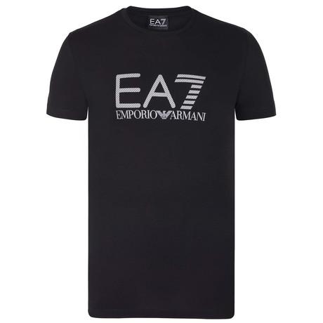 EA7 Linear Hatch Chest Logo Tee // Black + White