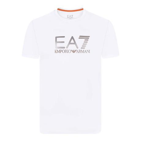 Metallic EA7 Linear Chest Logo Tee // White + Silver + Orange