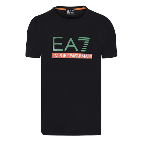 EA7 Linear Block Chest Logo Tee // Black + Green + Red