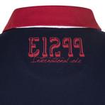 Stripe Blocked EA7 Logo Polo // Black + White + Red (S)