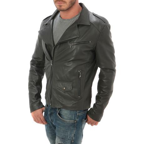 Zip Leather Jacket // Grey