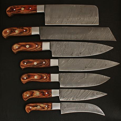 Damascus Kitchen Cutlery Set // Set of 7