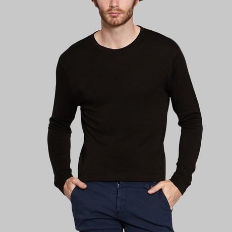 Round Neck Long-Sleeve T-Shirt // Black (S)