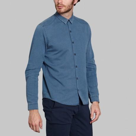 Stone Washed Denim Shirt // Blue (S)