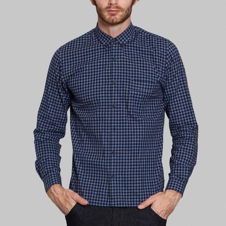 Hidden Button-Up Shirt // Grey + Blue (S)
