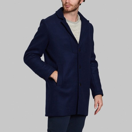 Wool Long Coat // Dark Blue (S)