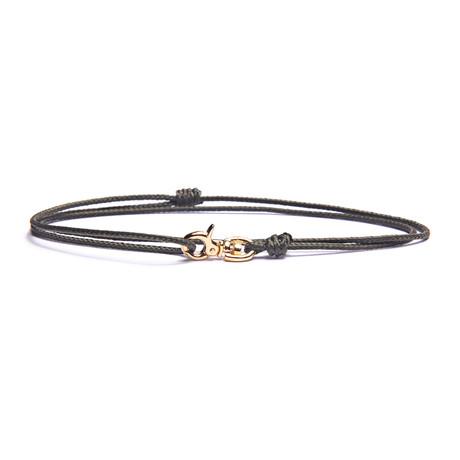 Olive + Gold Micro Cord Bracelet