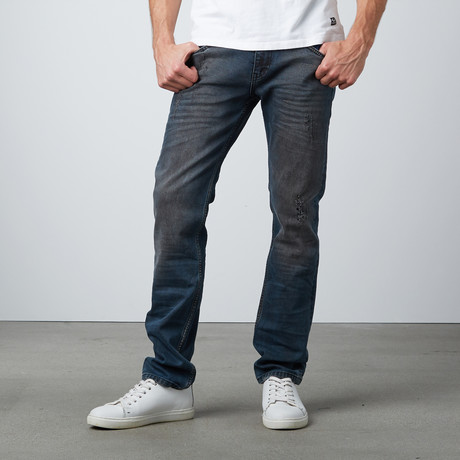 Skinny Jeans // Dark Blue + Brown (36WX32L)