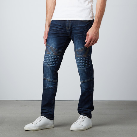 Moto Slim Jean W/ Embossed Detail // Dark Blue (30WX32L)