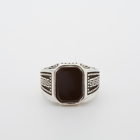 Onyx Patterned Sides Ring (Size 8.5)