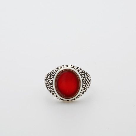 Red Agate Circle Ring (Size 8.5)