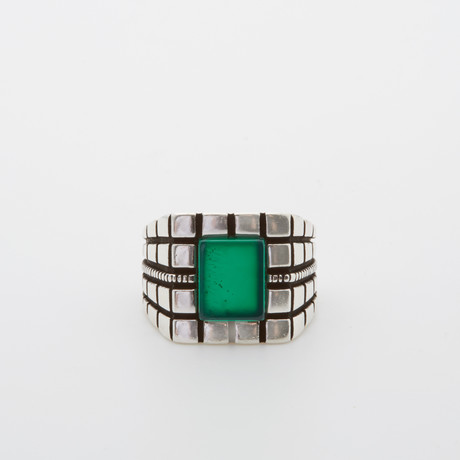 Green Agate Square Ring (Size 8.5)