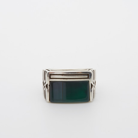 Spacial Rectangle Green Agate Ring (Size 8.5)