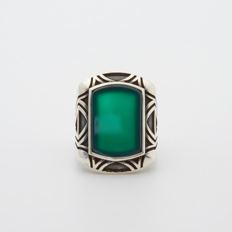 Green Agate Patterned Sides Ring (Size 8.5)