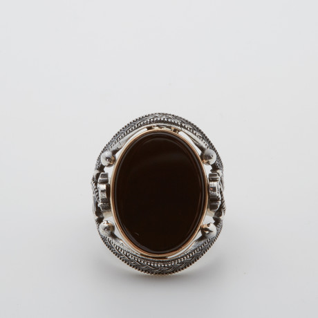 Nautical Onyx Ring (Size 8.5)