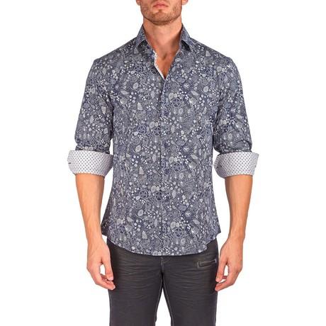 Lewis Long-Sleeve Button-Up Shirt // Navy