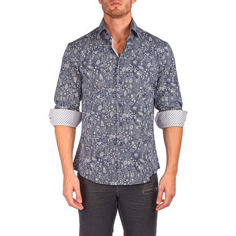 Lewis Long-Sleeve Button-Up Shirt // Navy (XS)
