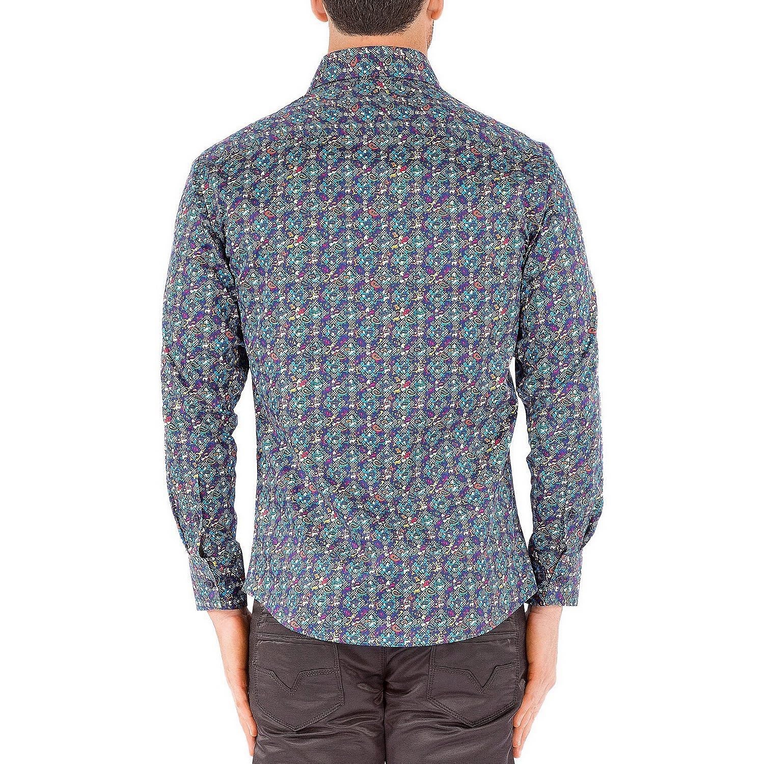 Long sleeve button up micro pattern shirt blue xl for Long sleeve shirt pattern