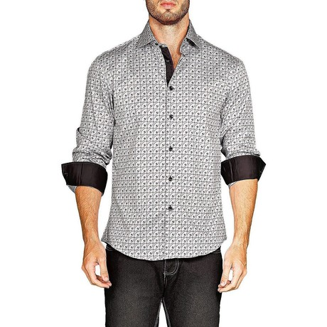 Alexander Long-Sleeve Button-Up Shirt // Gray (XS)